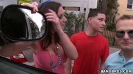 Bangbus threesome with pretty brunete